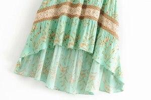 Image 3 - Vintage Chic fashion women  beach Bohemian floral print irregular hem rayon skirt High Waist Maxi  A Line Boho Skirt Femme