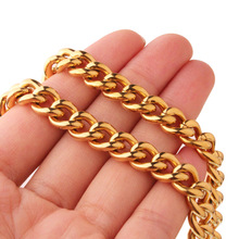 Granny Chic Fashion 9mm Men's Necklace Or Bracelet Stainless Steel Cuban Link Chain Gold Color Male Jewelry Gifts for Men стоимость
