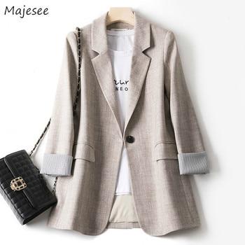 Blazers Women Trendy Patchwork Korean Chic Spring Loose Pockets Ladies Elegant Coats Single Button Minimalist Tops Plus Size 4XL