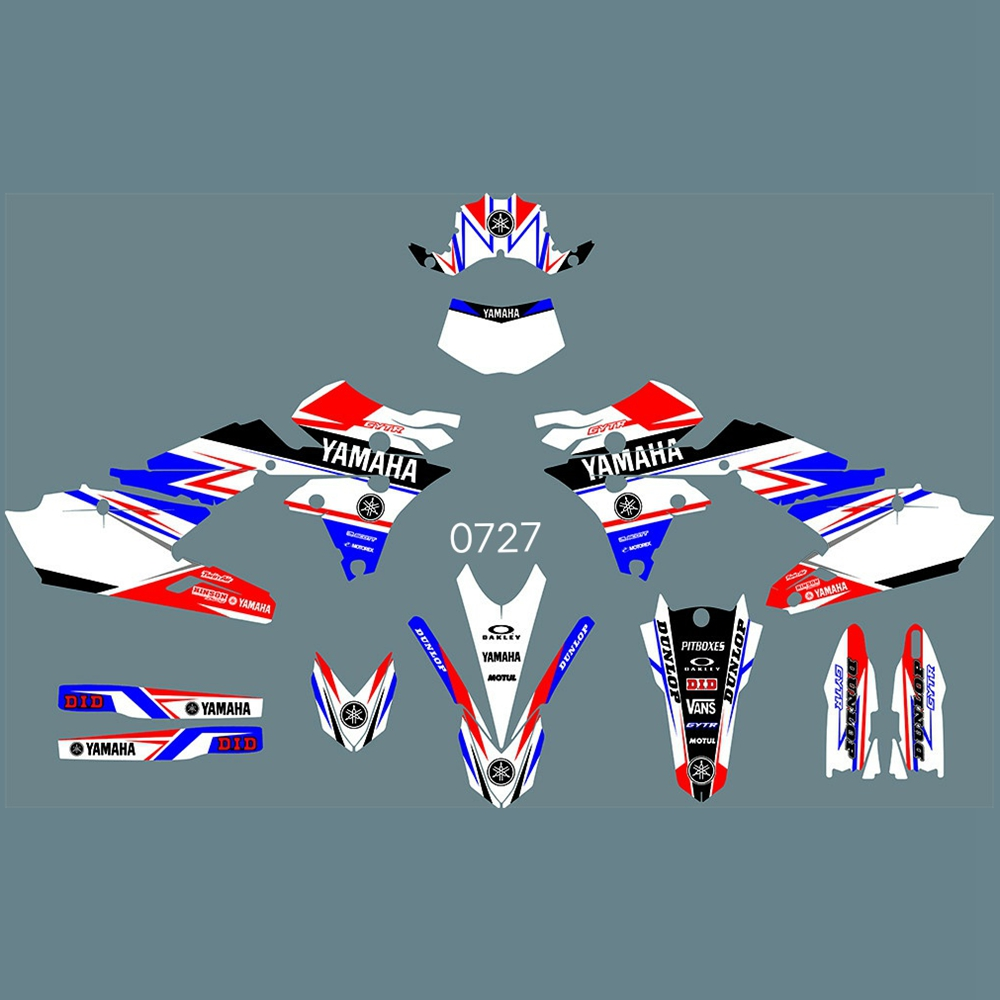 New Full Graphics Decals Stickers Custom Number Name Glossy Bright Stickers For Yamaha WR250F WR 250F WRF250 2015 2016 2017 2018