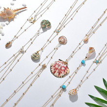 NEW Boho Gold Conch Shell Chain Presents&Necklace For women Bohemian Seashell Necklaces Statement Bijoux Femme Necklace SE200042 new boho gold conch shell chain presents