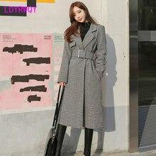 Корейский женский костюм воротник длинный модный пояс Талия Яо птица шерстяное пальто офисный женский воротник