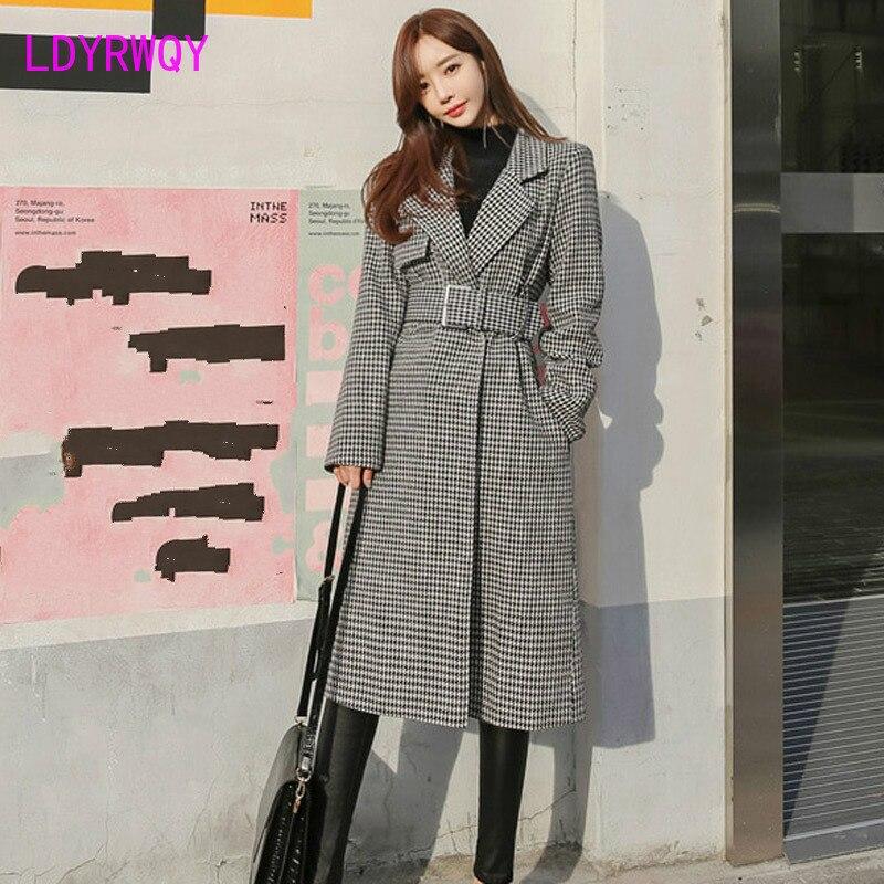 2019 new Korean temperament suit collar long fashion belt waist Yao bird wool coat Office Lady Turn-down Collar