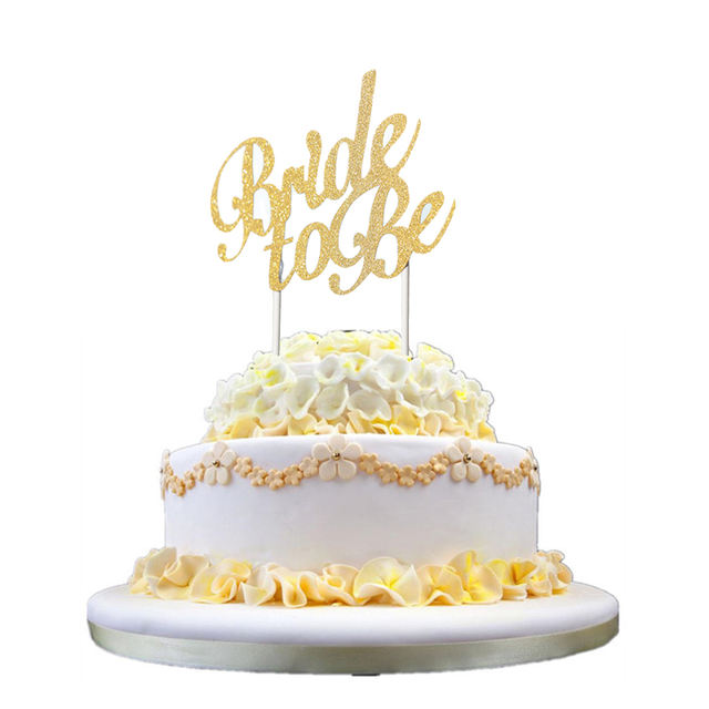 """Glittered """"Bride to Be"""" Cake Topper"""