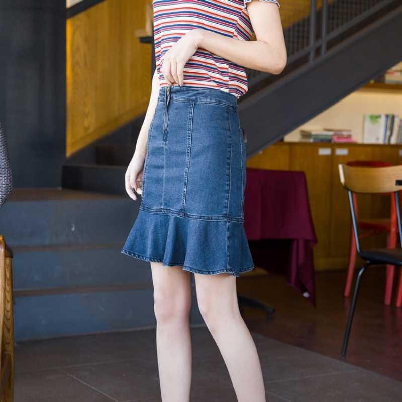 Koreanische Art-Frauen Jean Röcke Weibliche Hohe Taille Streetwear Zipper Meerjungfrau Röcke Rüschen Falda Saia Stretch Plus Größe 36 38 40
