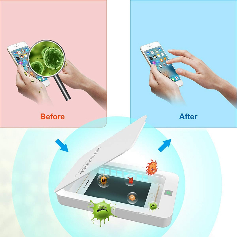 UV Smart Phone Cleaner, Portable Phone Cleaner, Aroma Cleaner, iPhone Cleaner Box with USB Charging Function (For IOS Android Ph 4