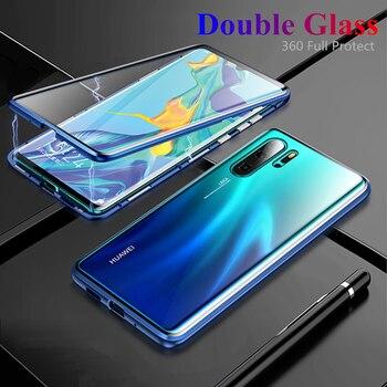 360 Magnetic Metal Case For Huawei P30 P20 Pro lite Mate 20 Pro 20X Case Double Glass Honor 10 8X Max 9x Nova 3 3i 3E 4 4E Cover