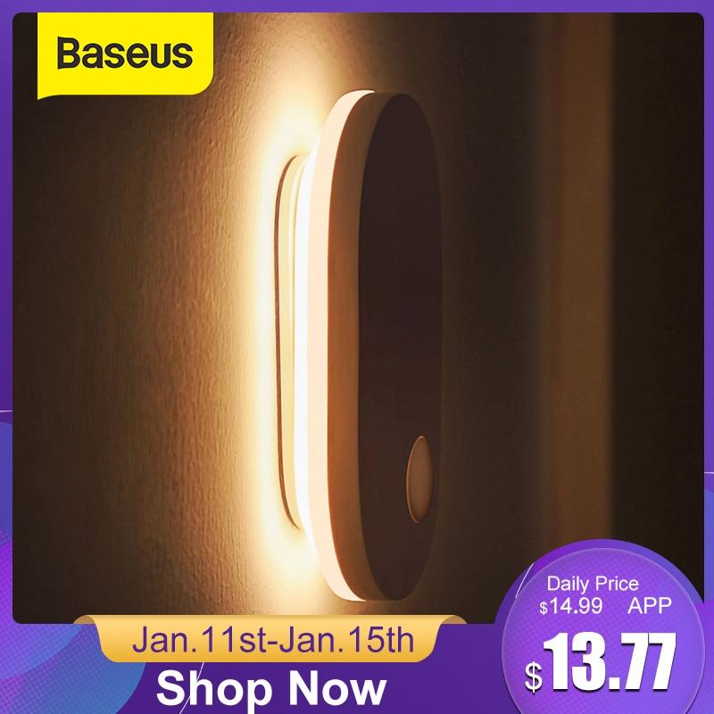 Baseus PIR capteur de mouvement veilleuse Induction humaine rétro-éclairage magnétique lumière LED Rechargeable lampe de chevet applique murale pour la maison