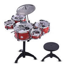 цена на Jazz Drum Set Children Kids Kit Musical Educational Instrument Toy 5 Drums + 1 Cymbal with Small Stool Drum Sticks for Kids