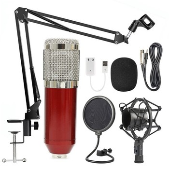 Caliente bm 800 grabación de estudio condensador podcast micrófono kit mic set bm800 profesional usb radio escritorio para pc ordenador