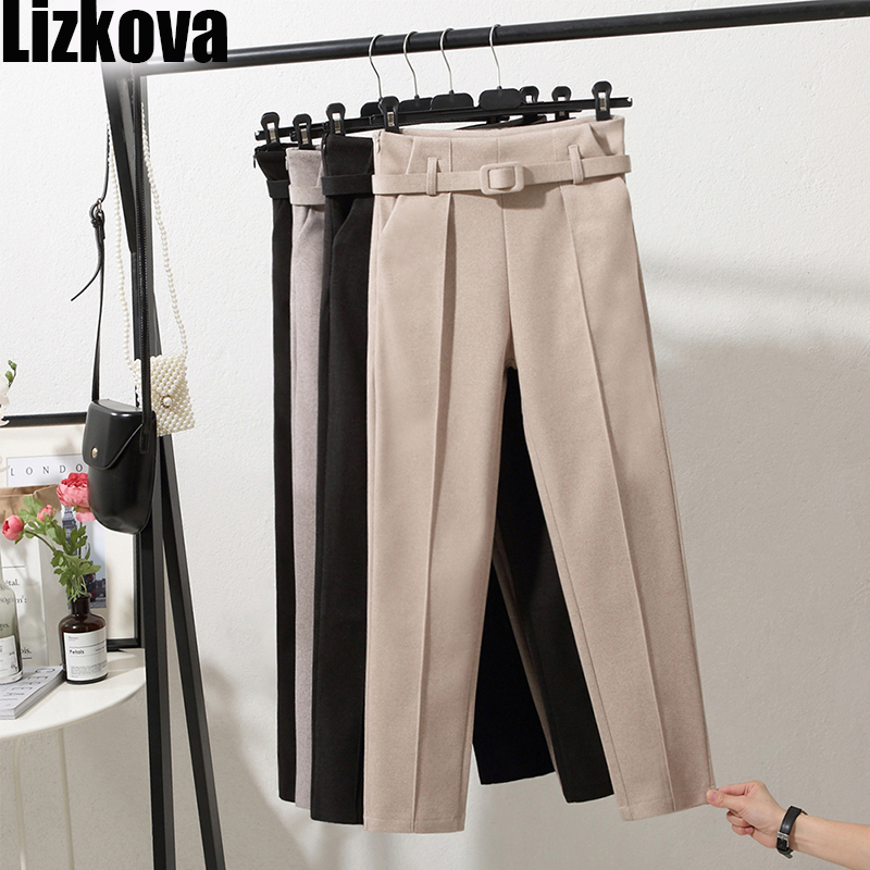 Winter Woollen Pants Women White Harem Pants With Belt Higt Waist Casual Pants Korean Style Official Pants
