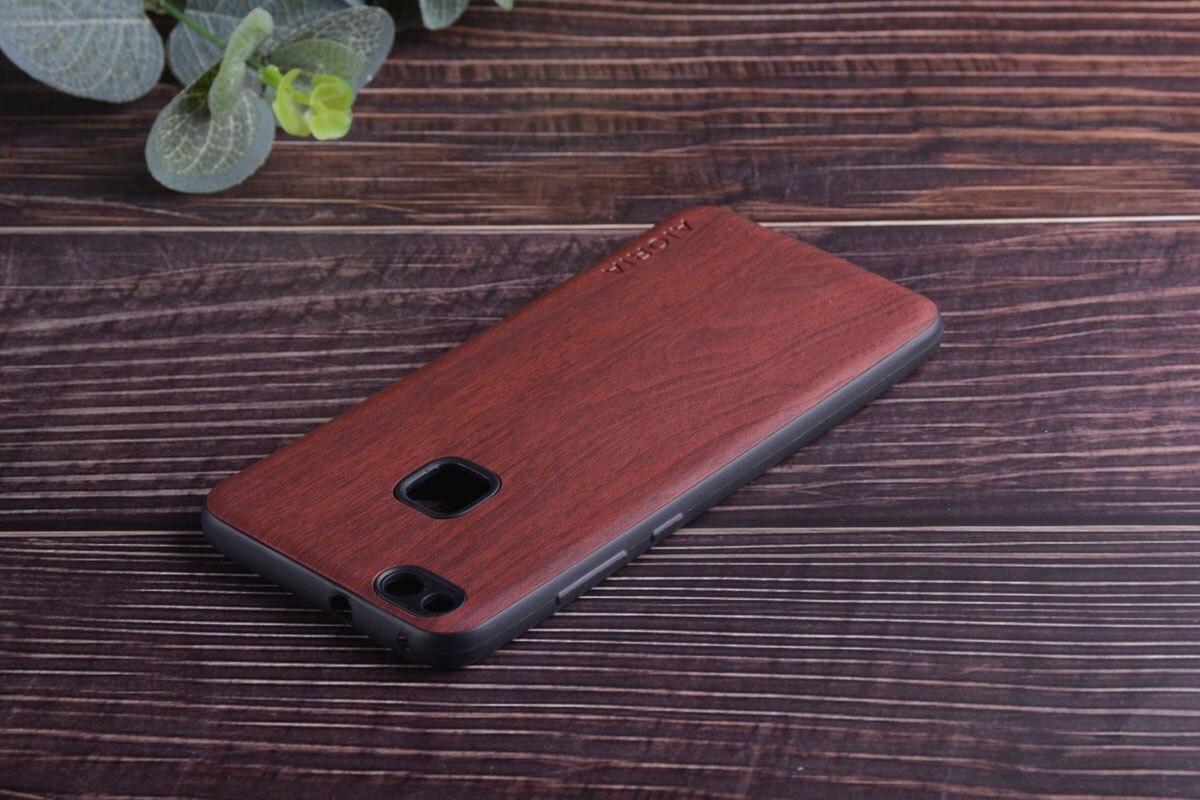 Coque design en bois pour Huawei P10 Lite en silicone TPU souple et cuir PU en bois