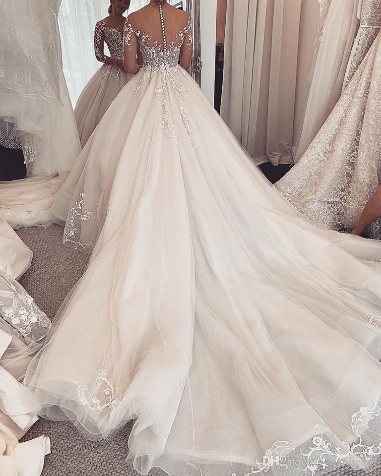 Charming Elegant Lace Wedding Gowns 2019 Robe De Mariee Sheer Long Sleeve Wedding Dress Custom Made Illusion A Line Bride Dress