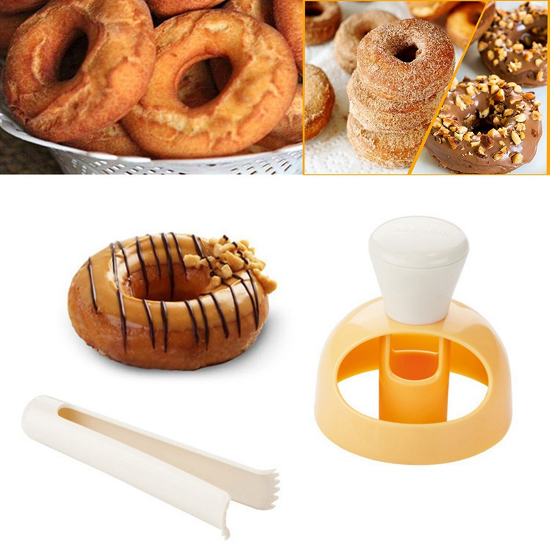 Large Donut Mold With Dip Plier DIY Plastic Hollow Bread Desserts Doughnut Cutter Maker Mould For Kitchen Baking Decorating Tool