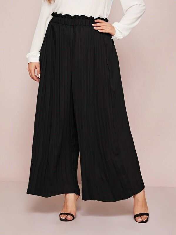Plus Size Women's Long Loose Black Solid Wide Leg Cropped Chiffon Pleated Culotte Trousers Pants Size XL-4XL