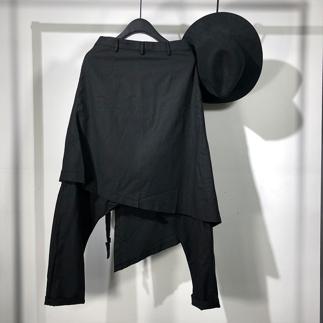 Owen Seak Men Casual Harem Pants Cross High Street Wear Hip HOP Ankle Length Pants Men's Gothic Sweatpants Spring Black Pants 2