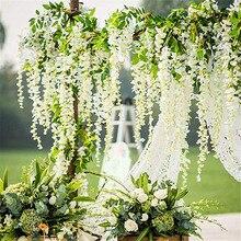 1PC Wisteria Artificial Flowers Vine Garland Wedding Arch Decor Silk Flowers Ivy