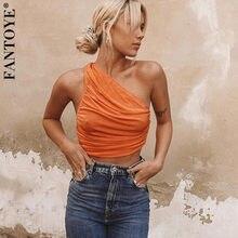 FANTOYE kobiety pomarańczowy ukośne ramię Ruched krótkie bluzki Camis moda jednolita sukienka typu Bodycon topy Femme Backless Slim Tank najlepszy Streetwear