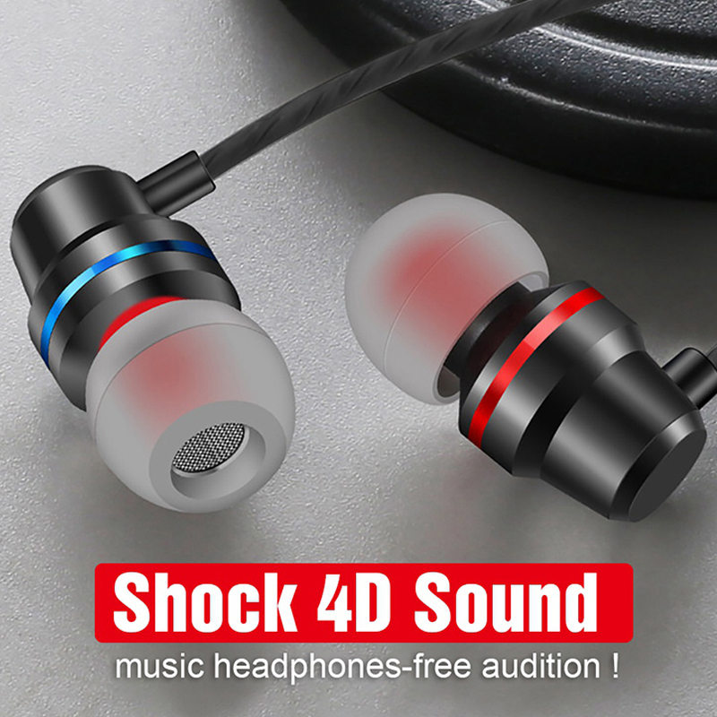 3.5mm Wired Earbuds Headphones Metal Earphone Earpiece With Mic Stereo Headset fone de ouvido For Samsung Xiaomi Phone Computer