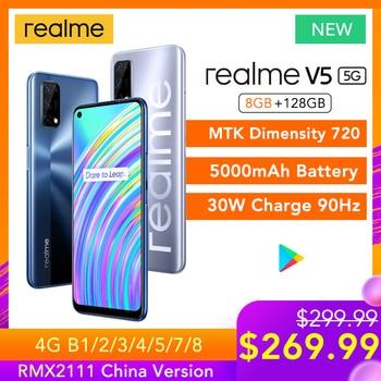 Перейти на Алиэкспресс и купить Realme V5 5G 8 ГБ ОЗУ 128 Гб ПЗУ Helio 720 90 Гц Дисплей 30 Вт флэш-зарядка 5000 мАч 48мп камера Поддержка многоязычного воспроизведения