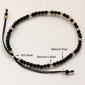 Image 2 - Pedra natural pequenos grânulos pulseiras para mulheres preto ônix artesanal yoga cura equilíbrio 925 prata oração reiki pulseiras finas