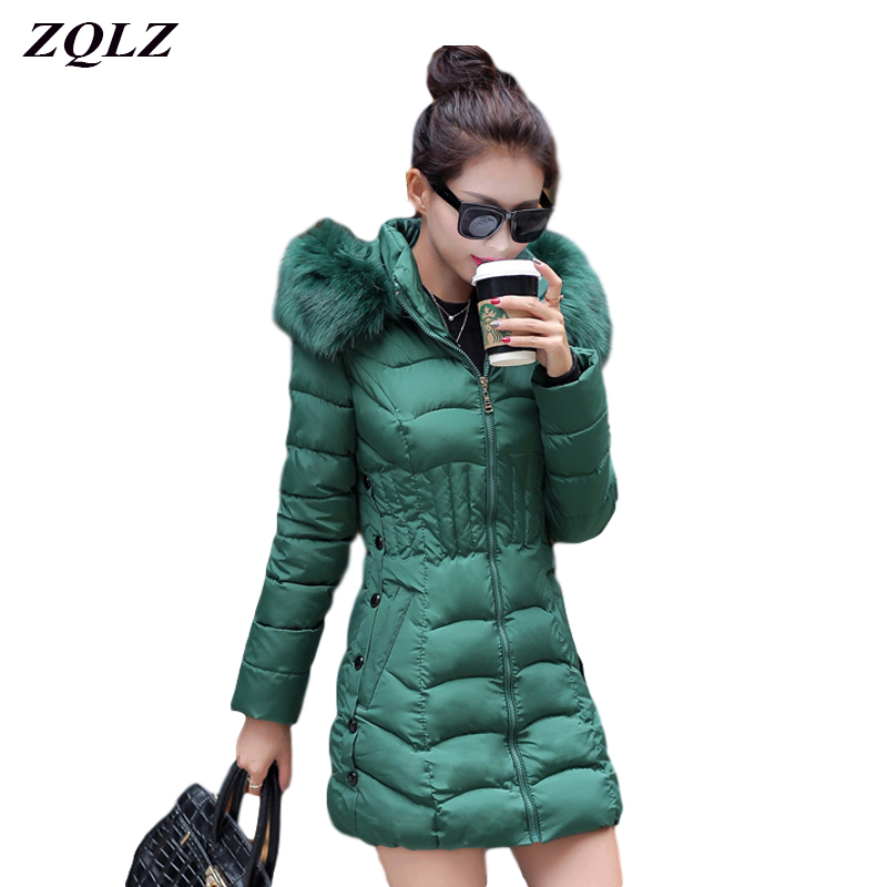 ZQLZ Winter Coat Women 2020 New Plus Size 4xl Casual Hooded Fur Collar Slim Cotton Coat Female Black Long Parka Mujer