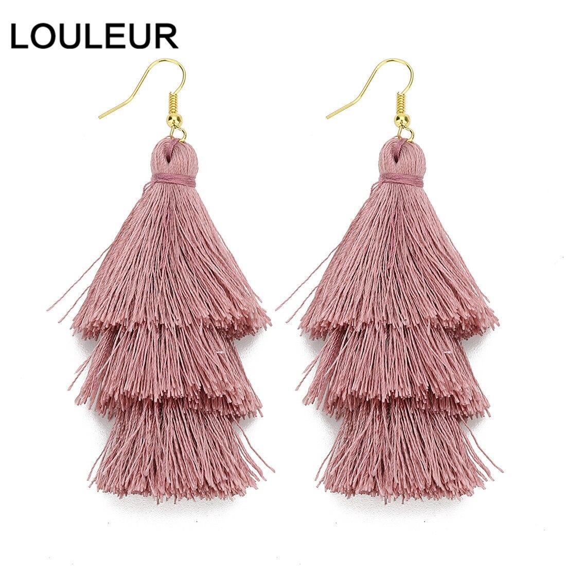 LOULEUR 3 Layered Bohemian Fringed Cheap Statement Tassel Earrings AFor Women Long Drop Dangle Earrings 2019 Boho Indian Jewelry