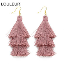 LOULEUR 3 Layered Bohemian Fringed Cheap Statement Tassel Earrings aFor Women Long Drop Dangle Earrings 2019 Boho Indian Jewelry(China)