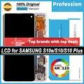 100% Оригинальный Super AMOLED дисплей для Samsung Galaxy S10 S10e S10 Plus S10 + ЖК сенсорный экран дигитайзер в сборе + пакет услуг