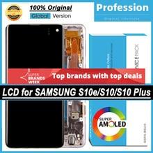 100% original super amoled display para samsung galaxy s10 s10e s10 plus s10 + lcd tela de toque digitador assembléia serviço pacote