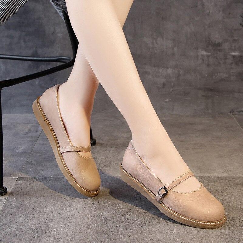 2020 neue Echtem Leder Oxford Schuhe Für Frauen Flache Schuhe Chaussures Femme Retro Handgemachte Slip Auf Casual Schuhe Frauen - 2