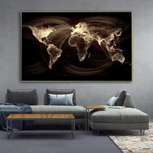 Vintage World Map Canvas Painting Printing Poster and Print Wall Art Nordic Map Pictures for Living Room Modern Pictures Decor