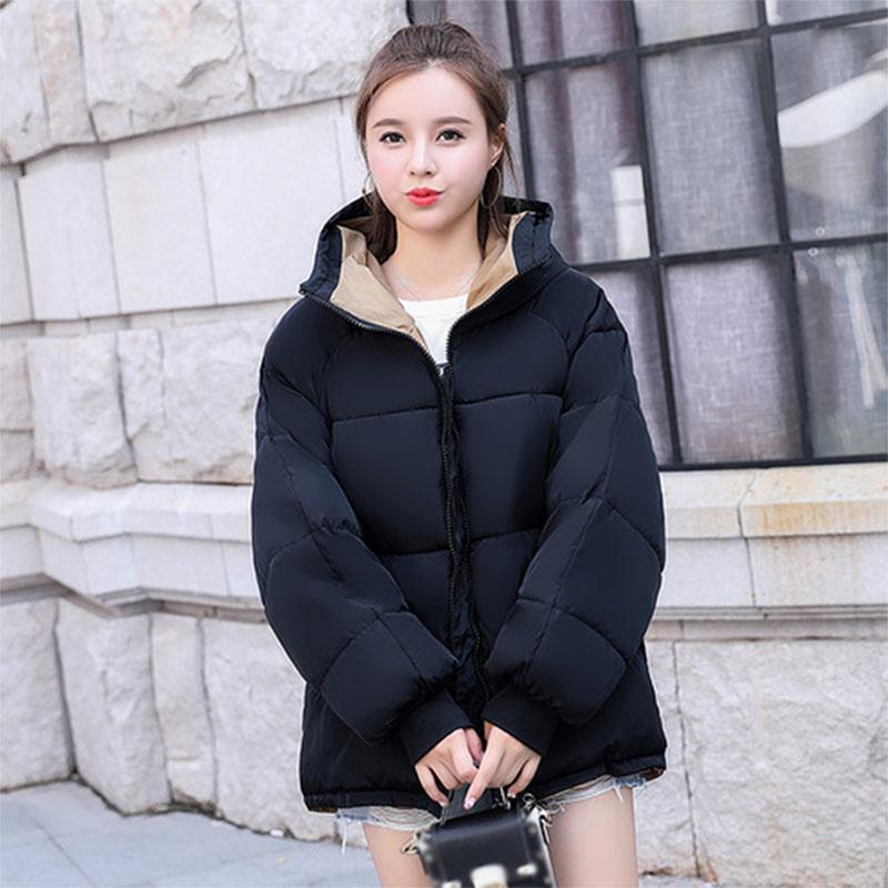 Thicken Hooded Down Coats Women Winter Korean Warm Short Zipper Pockets Cotton Bread Coats Female Fashion Plus Size Down Jackets