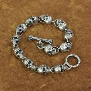 Image 1 - LINSION 925 Sterling Silver Details Skulls Chain Mens Biker Rock Punk Bracelet TA169