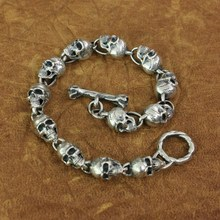 LINSION 925 argent Sterling détails crânes chaîne hommes motard Rock Punk Bracelet TA169