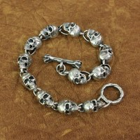 LINSION 925 Sterling Silver Details Skulls Chain Mens Biker Rock Punk Bracelet TA169