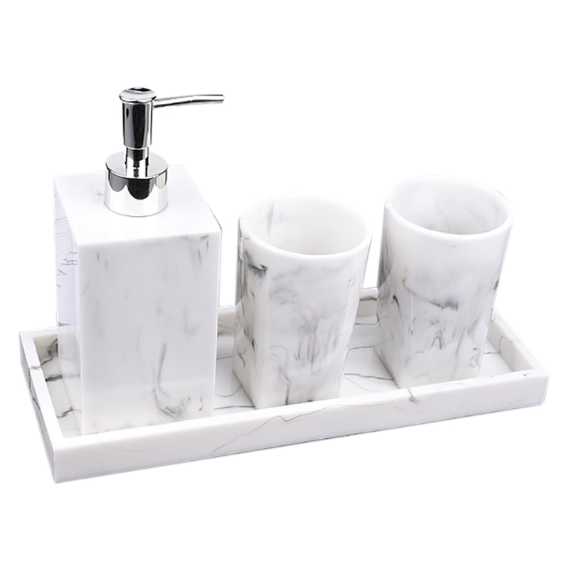 Bathroom Accessories Set of 4 Sets of Nordic White Marble Texture Resin Bathroom Kit Water Dispenser Lotion Bottle Tray Bathroom|Bathroom Accessories Sets| |  - title=