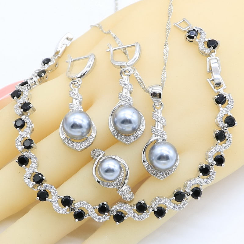 Jewelry-Sets Rings Necklace Pendant Zircon Pearl 925-Silver Women Gray Geometric