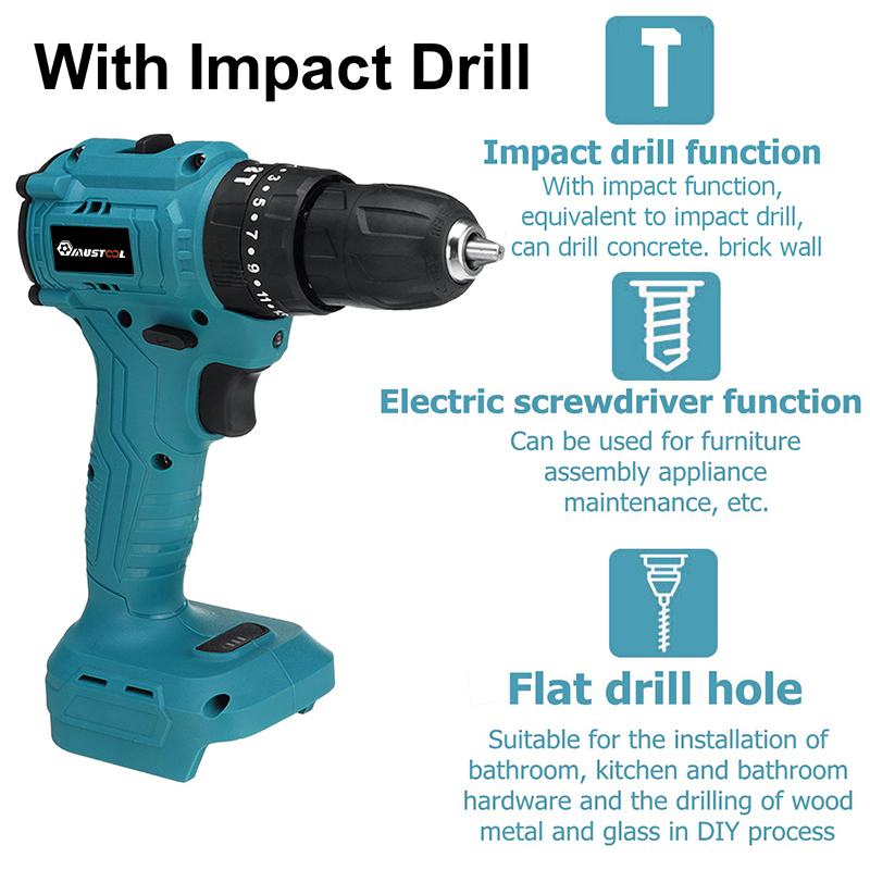 Brushless 1 2 Makita Screwdriver 3 Electric For Torque Cordless Impact Gears Battery In 25 18V Drill 10mm Electric MUSTOOL