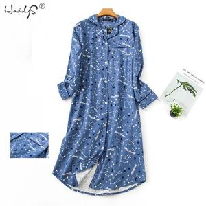 Image 1 - Nightgown Pyjamas Womens Sleepwear Lady Cotton Long Nightdress Plaid Cartoon Pyjamas Loungewear Nightwear With Pocketed