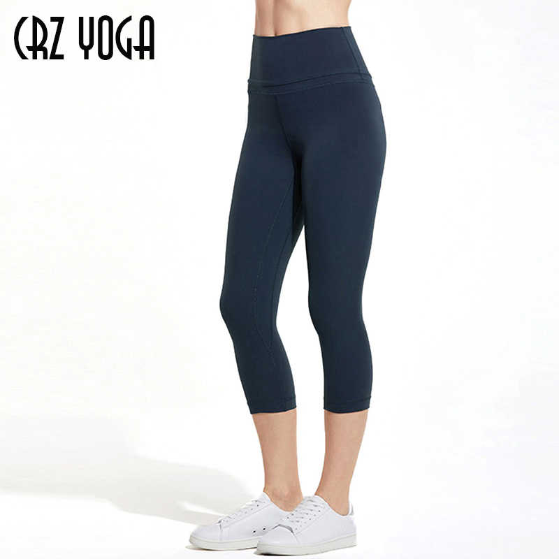 CRZ YOGA Women's Naked Feeling High Waist Active Pants Cropped Tights Yoga Capri