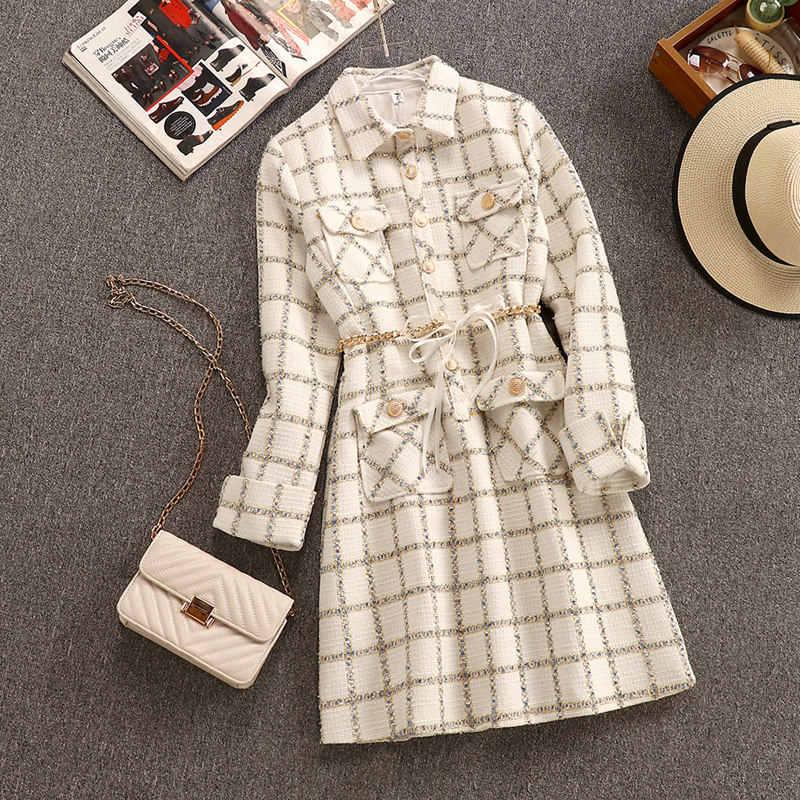 חדש 2019 סתיו חורף גבירותיי צמר טוויד לארוג משובץ שמלת אופנה מתכת שרשרת חגורת כיס קדמי אונליין עבה ארוך שרוול שמלה