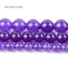 """Purple Jades Stone Natural Round Loose Beads 15"""" Pick 4-12m Spacer For Charm Necklace Bracelet Accessory Jewelry Making"""