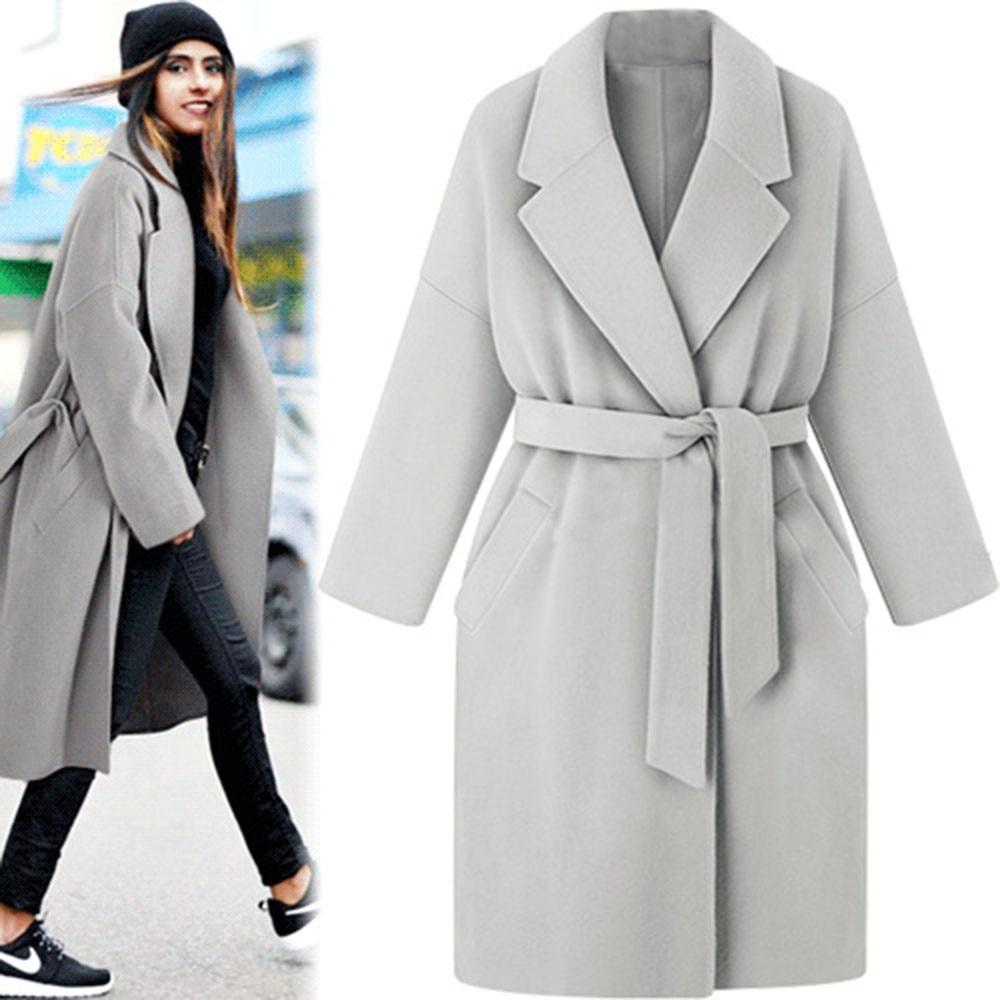 Women Ladies Winter Warm Wool Lapel Long Coat Trench Jacket Overcoat Outwear