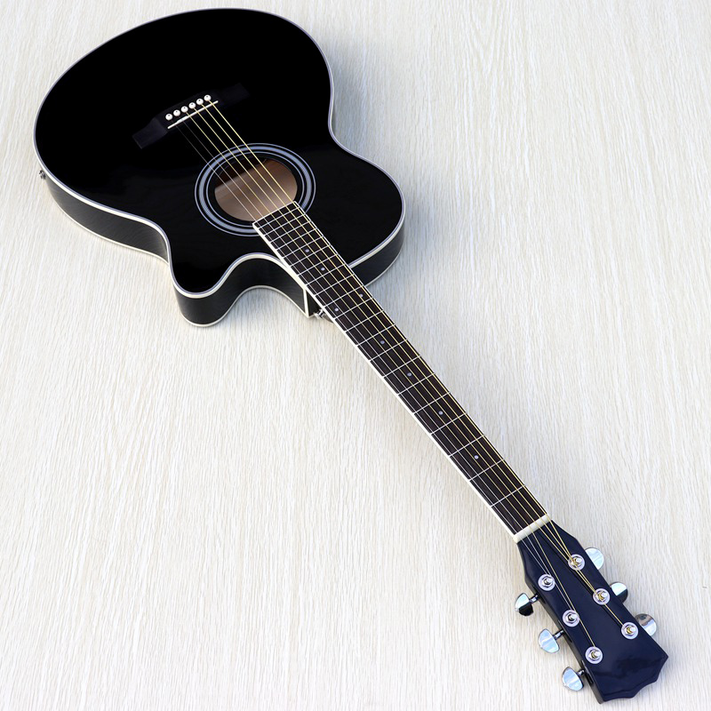 Guitar Sunburst Black White-Color Acoustic-Electric Thin-Body Natural Beginner with Free-Gig-Bag title=