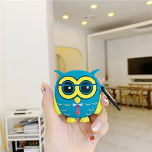 For AirPod 2 Case 3D Cute Blue Owl Cartoon Soft Silicone Wireless Earphone Cases Apple Airpods Cover Funda