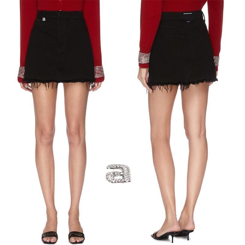2020 Spring Summer Women's A Letter Imitation Crystal Fringe Cotton Denim Half Skirt Black Denim Skirt A2