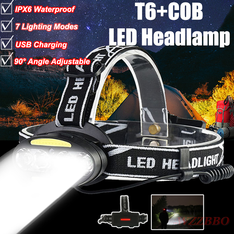 USB Rechargeable Headlight Head Lamp 4* T6 +2*COB+2*Red LED HeadLamp Flashlight Torch Lanterna Head Light for Camping Search