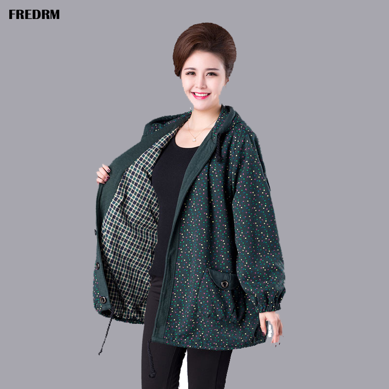 FREDRM Lady Jackets 2020 New Spring Autumn Big Size Euro 52 54 Women Coats Casual Middle-aged Ladies Female color dots Outerwear