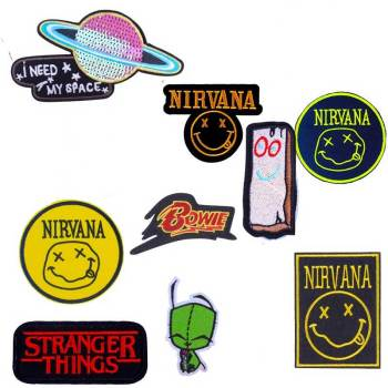 Pulaqi Anime Character Nirvana Viking Patch Iron On Embroidered Patches For Clothing Stranger Things Bowie Stickers On Clothes F image